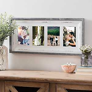 4-Opening Distressed White Gray Trim Collage Frame