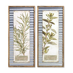 Metal Herb Framed Wall Plaques, Set of 2