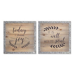 Wood and Metal Joy Wall Plaques, Set of 2