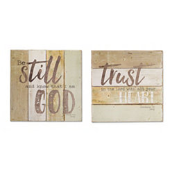 Be Still And Trust Wood Plaques, Set of 2