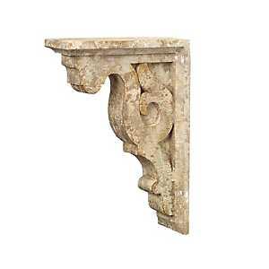 Tan Ornate Corbel Shelf Bracket, Set of 2