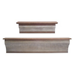 Galvanized Metal and Wood Shelf Set, Set of 2
