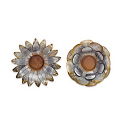 Metal Flower Wall Plaques, Set of 2