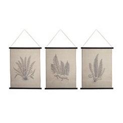 Fern Illustrations Canvas Tapestries, Set of 3