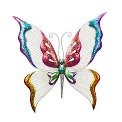 Colorful Metal Butterfly Wall Plaque