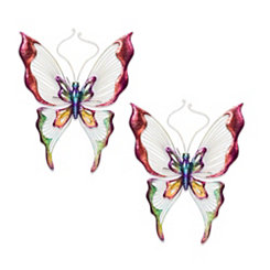 Colorful Metal Butterfly Wall Plaques, Set of 2