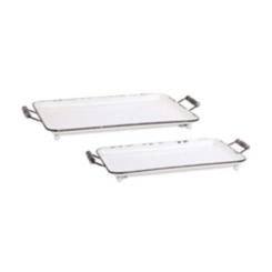 Distressed White Metal Trays, Set of 2
