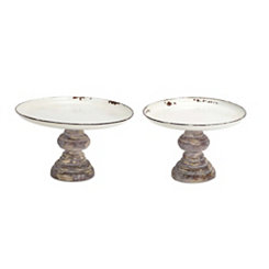 White Metal Pedestal Trays, Set of 2