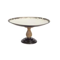 Vintage Metal and Wood Pedestal Tray