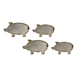 Metal Pig Platters, Set of 4