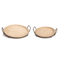 Round Wood Trays with Metal Rims, Set of 2