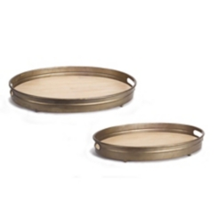 Oval Wood Trays with Metal Rims, Set of 2