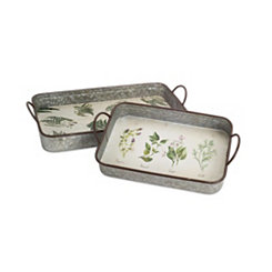 Galvanized Metal Herb Trays, Set of 2