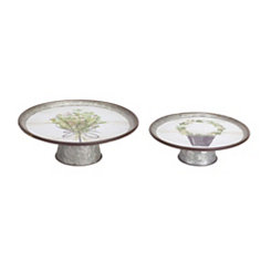 Galvanized Metal Herb Pedestal Trays, Set of 2