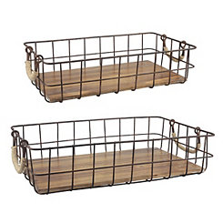Wire Baskets with Wooden Bottoms, Set of 2