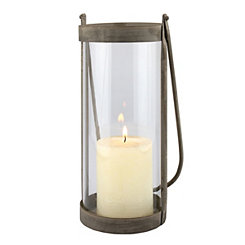 Glass and Rustic Metal Lantern