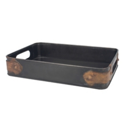 Steel Tray with Rust Trim
