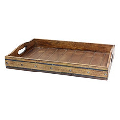 Wood Tray with Black Metal Trim