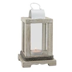 Weathered Wood and White Metal Lantern