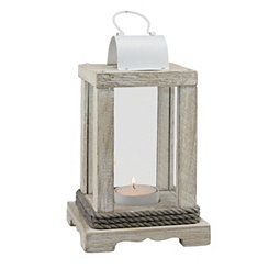 Weathered Wood and White Metal Lantern