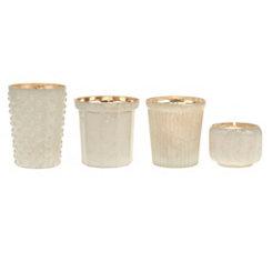 White Mercury Glass Votive Holders, Set of 4