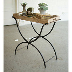 Folding Iron Accent Table with Removable Tray