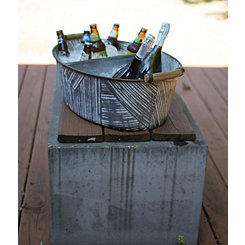 Galvanized Oval Bucket Drink Cooler with Divider