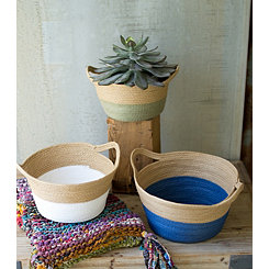Woven Dipped Baskets, Set of 3