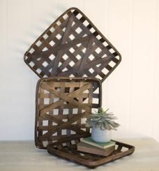 Dark Brown Woven Tobacco Baskets, Set of 3
