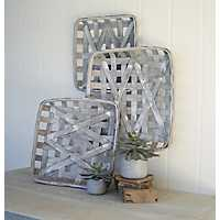 Gray Wash Woven Tobacco Baskets, Set of 3