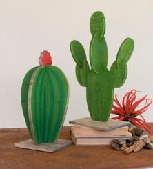 Painted Wooden Cactus Sculptures, Set of 2