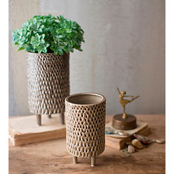 Tan Ceramic Vases on Stands, Set of 2