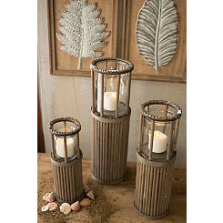 Natural Ribbed Wood Floor Hurricanes, Set of 3