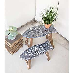 Wooden Fish Stool Plant Stands, Set of 2