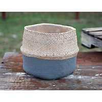 Gray Cement Basket Planter