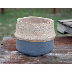 Gray Cement Basket Planter