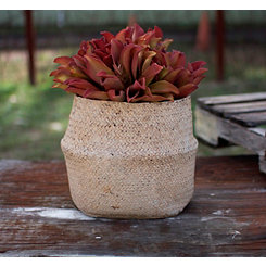 Natural Cement Basket Planter
