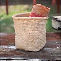 Natural Rolled Top Cement Basket Planter