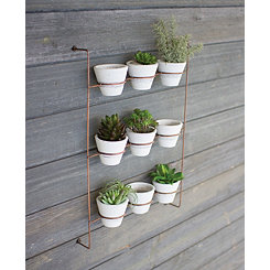 Copper Planter Rack with Clay Pots