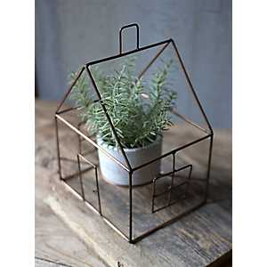 Copper House Planter with Clay Pot