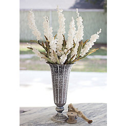 Washed Gray Metal Vase, 17 in.