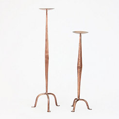 Antique Copper Candlesticks, Set of 2