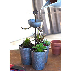 Zinc Triple Watering Bucket Planter