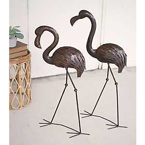 Rustic Drip Weld Flamingo Figurines, Set of 2