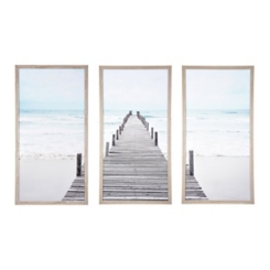Triptych Wooden Dock Framed Art Prints, Set of 3