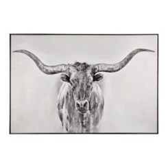 Black and White Longhorn Framed Art Print