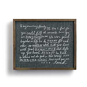 Family Love Letter Framed Wood Wall Plaque