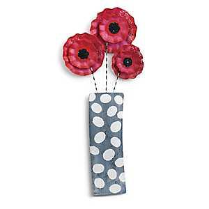 Ruffled Flowers in Vase Door Hanger