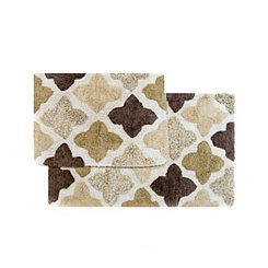 Khaki Moroccan Tile Bath Mats, Set of 2