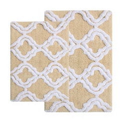 Straw Quatrefoil Bath Mats, Set of 2